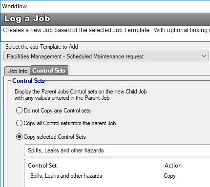 workflow log child job control set