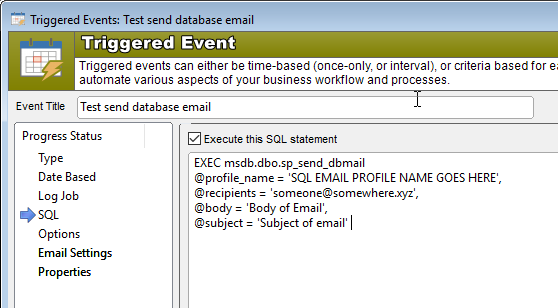 Triggered event send sql email