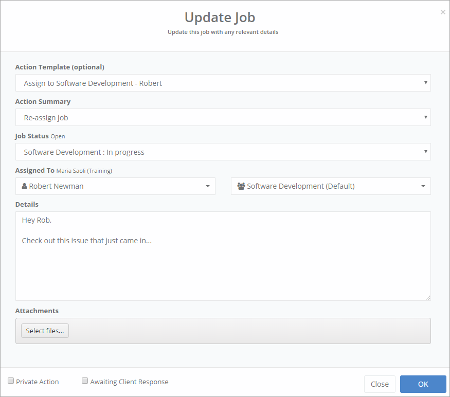 web portal staff update job via action