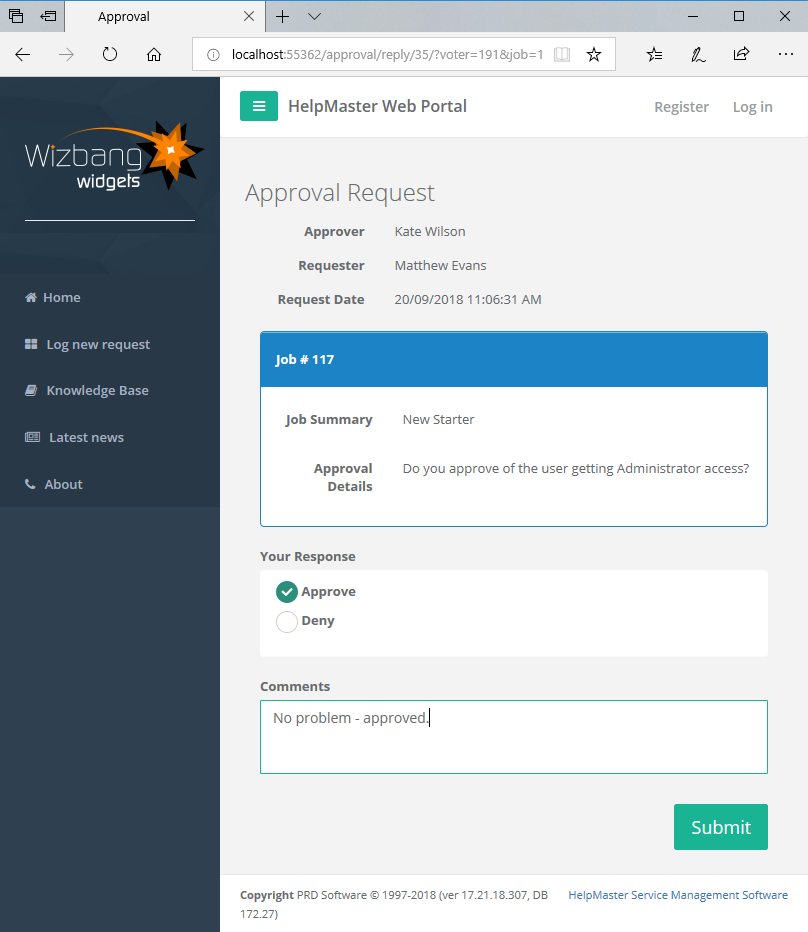 workflow approval process web request