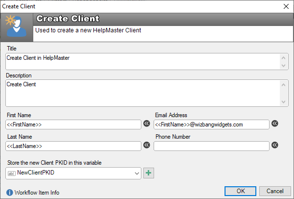workflow create new client