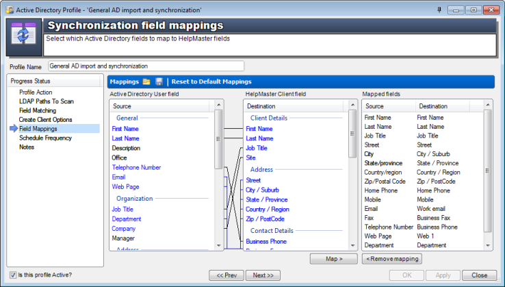 Active Directory synchronization field mappings