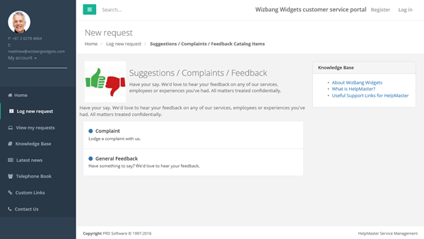 web portal for feedback suggestions and complaints