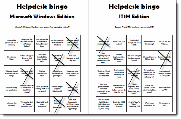 Help desk ITSM bingo game